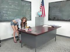 Sweet teen with long curly hair fucks her older teacher