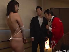 Lingerie clad Japanese pornstar has her pink slit teased with a toy then slammed hardcore