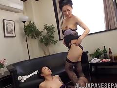 Wild Asian lesbian with a slim body getting her wet pussy licked