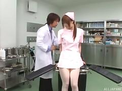 Nasty Japanese nurse boycotts duty just to enjoy a thick cock banging her hairy muff
