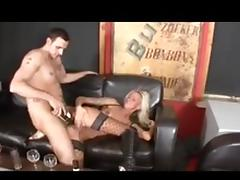 German blonde in stockings and boots fucked