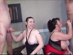 Busty matures give blowjobs with facials