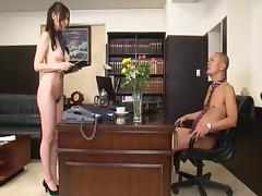 Naked office babe Yui Tatsumi serves the cocks of her coworkers