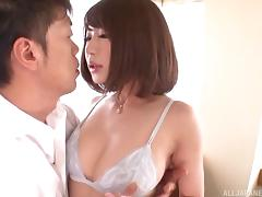 Big boobs Asian babe has her pussy anchor a massive throbber locking only the balls out
