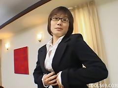 Very giving Asian businesswoman gives her boss some great head