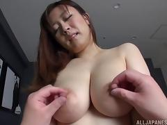 MILF with enormous tits loves it when men worship her large boobs