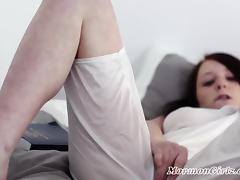 Horny Brunette Masturbates In Companions Mormon Garments