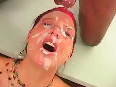 Red head face gets covered in cum