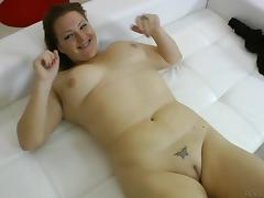 Curvaceous amateur moans with pleasure as her coochie welcomes a fat cock