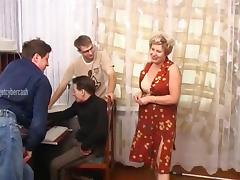 After fucking her these three guys unload their balls all over her