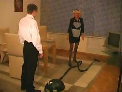 Lovely milf maid and the bellhop fuck in a hotel room