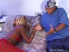 Black ghetto slut with blonde hair is a notorious cock sucker