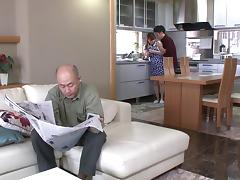 Asian housewife fucks her hubby hardcore in the kitchen