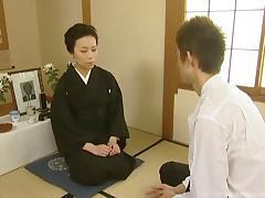 Kimono babe in the dojo has sex with her karate master