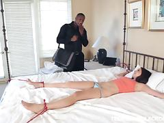 Tattooed black stud pants his big cock deep in horny brunette's tight pussy hardcore
