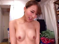 Delectable Japanese cowgirl milks a stiff pecker then gets pounded till orgasm