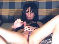 Small tits brunette tranny wanking on cam
