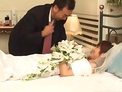 Japanese bride fucking her new husband on a webcam