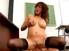 Busty milf teacher sucks and rides dick