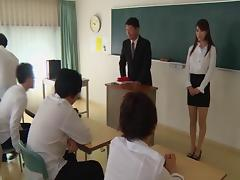 Japanese teacher blowbanged by students and covered in jizz