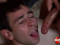 Amateur gay sucks each cock in the crowd then gets facial cumshots