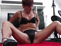 European granny in high heels rubbing her old hairy pussy