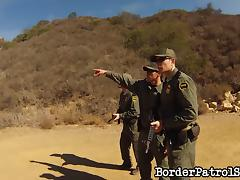 Border patrol officers lay the pipe to a hot chick they caught