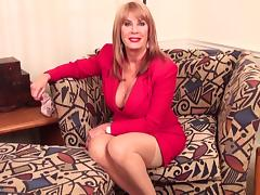 Sleazy American mature woman with big tits pleasuring herself