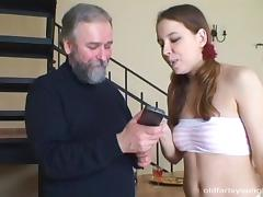 A hot girl pays her repairman with some very tight pussy