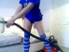 Lustful black brown fucking vacuum cleaner