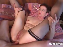 Horny french mature double vaginal plugged and sodomized