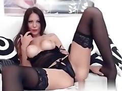 breasty lengthy legged brunette hair widens her legs and plays
