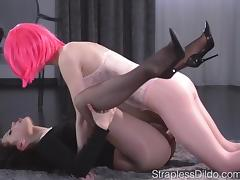 Sex Starved Doll is Strapon Fucked Hard by Ma