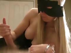 So sexy masked milf blonde wife make a hell of a handjob until cumshot,damn