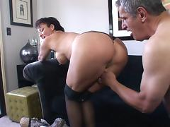 Mature couple having a hardcore fun on a sofa