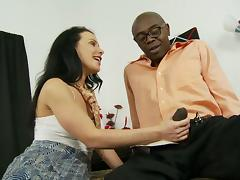 Black haired Milf impales her hairy snatch on a black cock