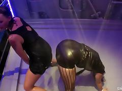 Leather wearing hotties put on a red hot live sex show
