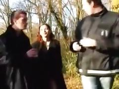 Beautiful french babe gets fucked by two men.