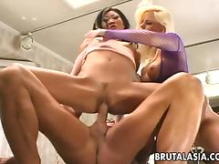 Long haired blonde screams loud with her anal getting a thorough throbbing in a FFM sex