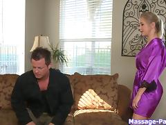 He wants the hot blonde masseuse to suck his big dick