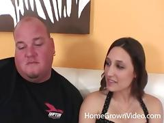 Slender amateur brunette gets fucked by a chubby bald man