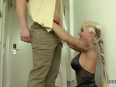 German Tattoo Teen get fucked by Stranger in Uniform