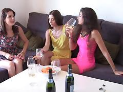 Agnessa & Carla & Leila in group sex video featuring hot student girls