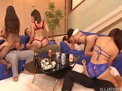 Japanese girls in lingerie fill the orgy with great fucking