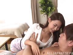 Exquisite Japanese babe rides a dick and receives a facial cumshot
