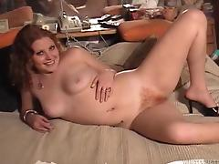 Chubby redhead with a hairy pussy enjoying a hardcore missionary style fuck