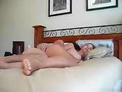 Hot big boobed blonde girl has missionary and doggystyle sex with belly cumshot on the bed
