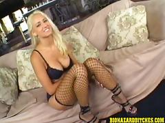 Fishnet-clad blonde with huge tits enjoying an awesome threesome