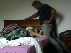 White girl sucks and rides her black bf's cock on the bed