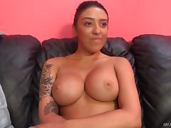 Big ass Latina bimbo loves giving blowjobs before mounting a cock